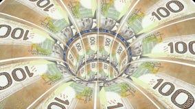 Cnadian美元蠕虫孔漏斗隧道飞行无缝的圈动画背景新的质量财务事务冷却好 向量例证