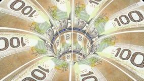 Cnadian美元蠕虫孔漏斗隧道飞行无缝的圈动画背景新的质量财务事务冷却好 皇族释放例证