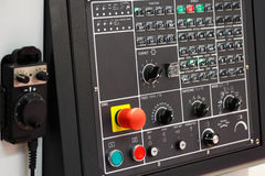 CNC与垂饰的控制板 免版税库存照片