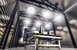 CNC μηχανή στο υπόστεγο αποθηκών εμπορευμάτων ελεύθερη απεικόνιση δικαιώματος