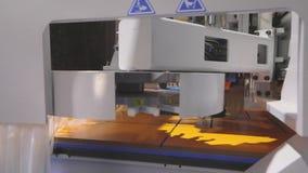 Cnc τρύπες τρυπανιών μηχανών στην ξύλινη ασπίδα Cnc μηχανή στην έκθεση τεχνολογίας φιλμ μικρού μήκους