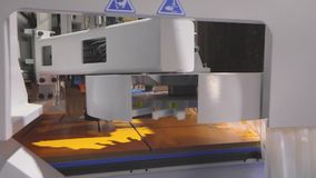 Cnc τρύπες τρυπανιών μηχανών στην ξύλινη ασπίδα Cnc μηχανή στην έκθεση τεχνολογίας απόθεμα βίντεο