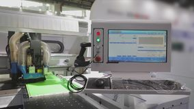 CNC control console stack, computer in the CNC machine. Modern automated cnc machine.  stock footage