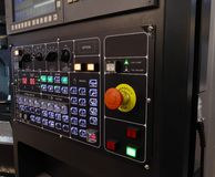 CNC control panel. Black CNC control panel with stop button royalty free stock image