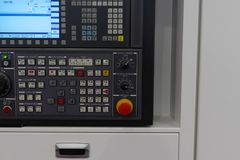 CNC control panel. Huge CNC control panel with stop button stock photo