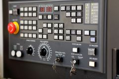 CNC control panel of lathe machine close up stock images