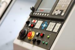 CNC control panel of metalworking lathe machine. Selective focus stock photography