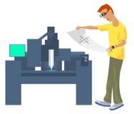 Cnc do operador com desenho Imagens de Stock Royalty Free