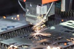 CNC gas cutting metal sheet Royalty Free Stock Image