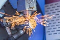 CNC gas cutting metal sheet Royalty Free Stock Images