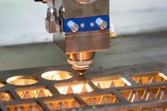 CNC gas cutting metal sheet Stock Image
