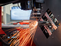CNC gas cutting metal sheet Stock Photo