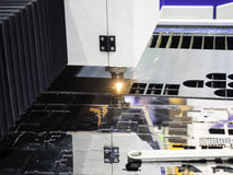 CNC gas cutting metal sheet Royalty Free Stock Photos