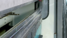 CNC hydraulic press brake without metal. Large machine try to bend at an angle.  stock video