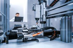 CNC Laser cutting of metal, modern industrial technology stock photography