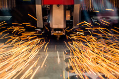 CNC Laser cutting of metal, modern industrial technology. Stock Image
