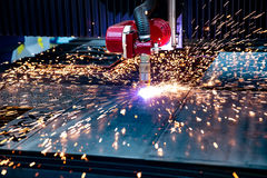CNC Laser cutting of metal, modern industrial technology. Royalty Free Stock Photography