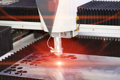 CNC laser cutting metal sheet Royalty Free Stock Photo