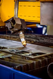 CNC Laser plasma cutting of metal, modern industrial technology. Royalty Free Stock Photography