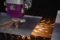 CNC laserowy tnący maszynowy rozcięcie metalu talerz Zdjęcie Stock