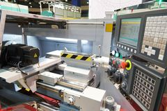 CNC lathe. With cutters and workpiece royalty free stock image