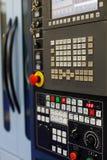CNC lathe machine control panel. Selective focus stock image
