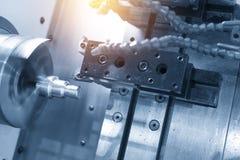 CNC lathe machine Turning machine. Cutting the metal thread part by lathe cutter .Hi-precision CNC machining concept royalty free stock photo