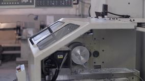 CNC Lathe machine in workshop stock footage
