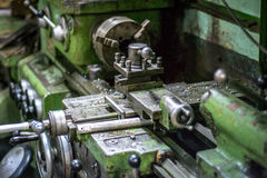CNC Lathe. Old CNC Lathe in workroom ready to work Stock Photo