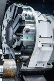 Cnc lathe tool turret. Rotating head for tool change stock photos