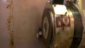 Cnc lathe turret. Part of mechanism with grease. Power and durability stock video