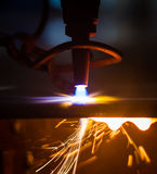 CNC LPG cutting with sparks Royalty Free Stock Images