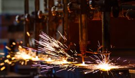 CNC LPG cutting with sparks Stock Photos