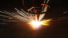 CNC LPG cutting with sparks stock video footage