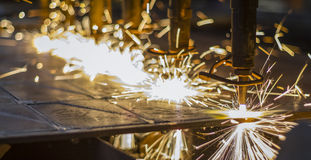 CNC LPG cutting. With sparks close up Stock Image