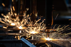 CNC LPG cutting with sparks Stock Image