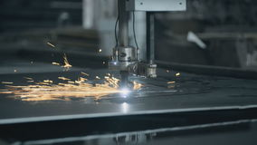 CNC LPG cutting with sparks close up metal stock video