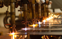 CNC LPG gas cutting with water cooling Stock Image
