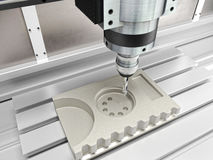 Cnc machine in action. 3d rendering Royalty Free Stock Photo