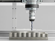 Cnc machine in action. 3d rendering Royalty Free Stock Photos