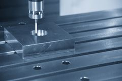 The CNC machine attach the CMM probe royalty free stock photography