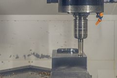 Cnc machine center cutting metal millin industrial.  royalty free stock photos