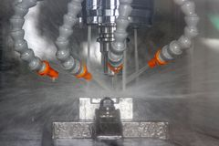 Cnc machine center cutting metal millin industrial.  stock photography