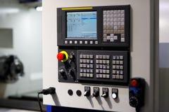 CNC machine control panel close up. Selective focus stock photos