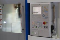 CNC Machine control panel closup. CNC Machine control panel machining milling cutting drilling royalty free stock photo