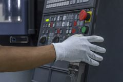 CNC Machine control panel and hand control.  stock image