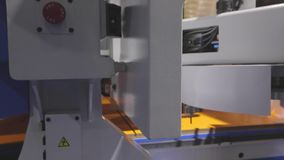 Cnc machine at the exhibition of hardware technology. CNC machine tool at work at the exhibition.  stock video