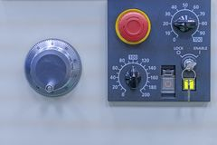CNC Machine milling control panel equipment. Controls, industrial, industry, part, automation, factory, machinery, machining, manufacture, drill, drilling royalty free stock photos
