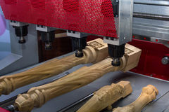 CNC machine in the production of furniture royalty free stock photo