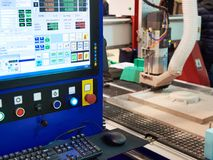 CNC machine tool for 3D object simulation royalty free stock image